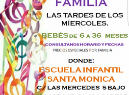 """Talleres: """"Música en Familia"""" en Santa Mónica Escuela Infantil"""